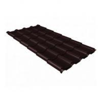 Металлочерепица камея 0,5 Quarzit lite RAL 8017 шоколад