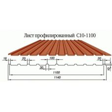 Профнастил окрашенный С10-1100-0.4 цена за пог.м