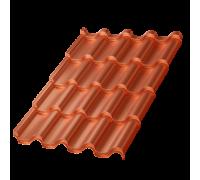 Металлочерепица Монтерроса-S, 0,5 мм, AGNETA, Copper Медный